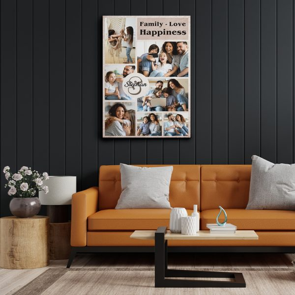 Family - Love - Happiness Photo Collage Canvas Print Hanging On A Wall