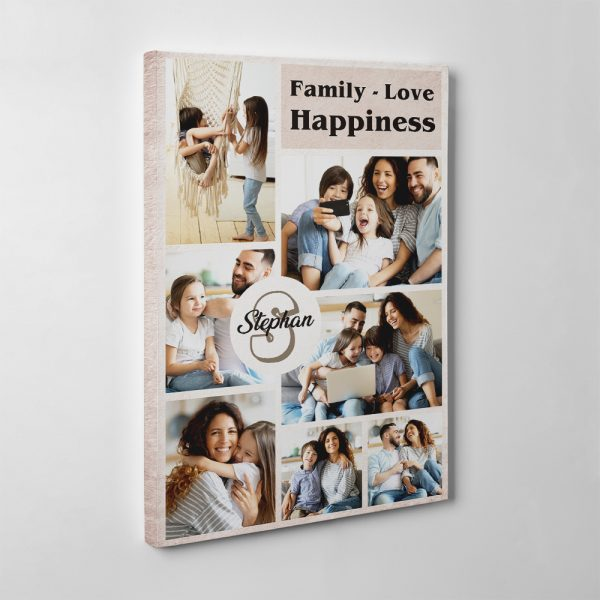 Family - Love - Happiness Photo Collage Canvas Print - Side View