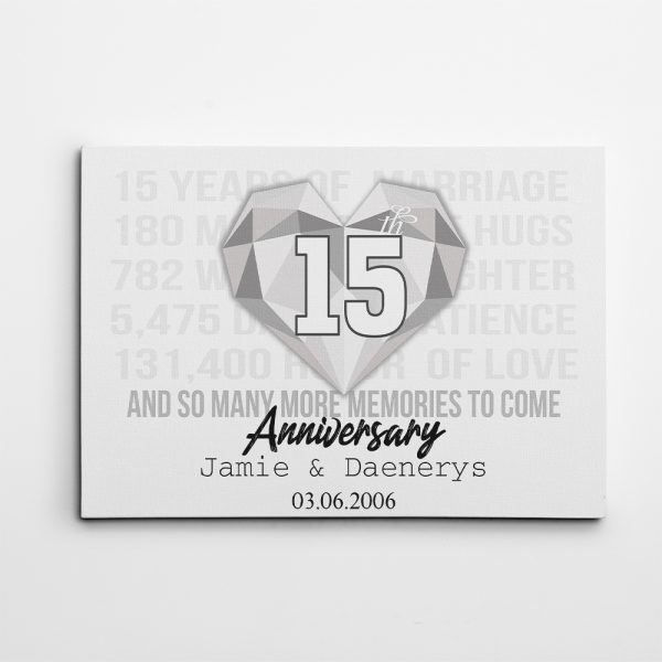 mr and mrs 15 anniversary black with text canvas print