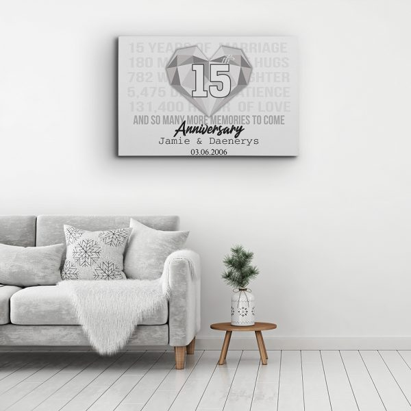 decor anniversary black with text canvas print on living room
