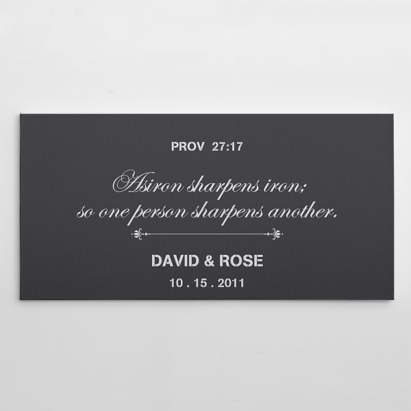 As Iron Sharpens Iron So One Person Sharpens Another - 10th Anniversary Custom Name Canvas Print
