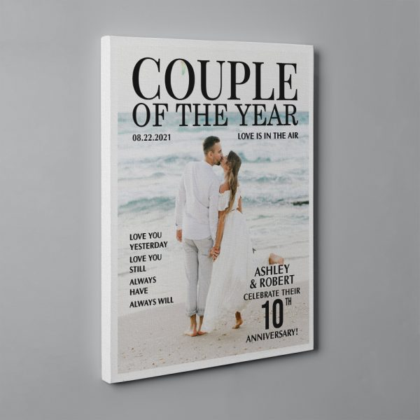 Couple of The Year Magazine Cover 10th Anniversary Custom Canvas Print - Design A