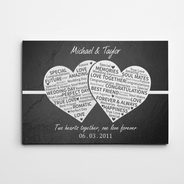 10 Years Anniversary - Two Hearts Together, One Love Forever Canvas Print