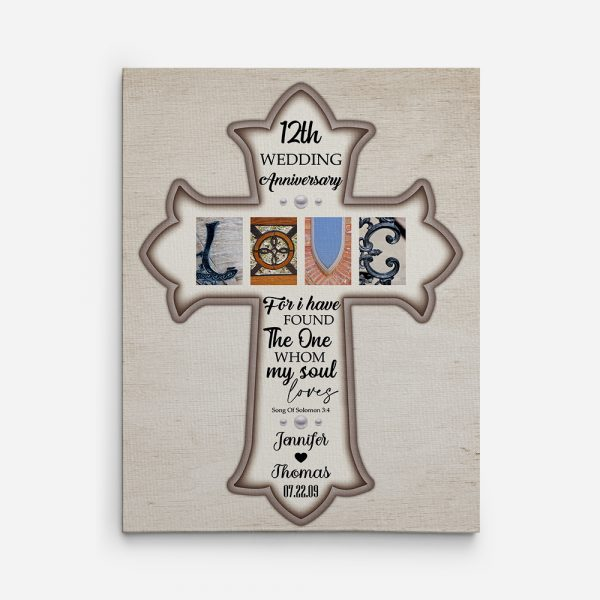 I Have Found The One Whom My Soul Loves 12th Anniversary Canvas Print