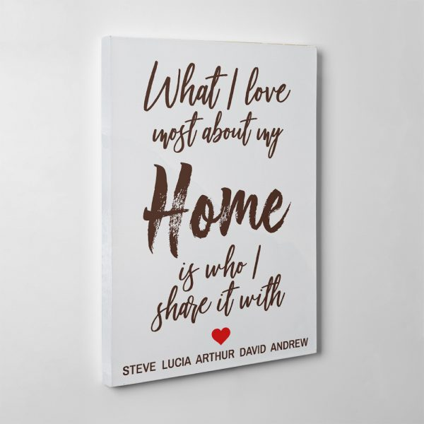 What I Love Most About My Home Is Who I Share It With 15th-Anniversary Canvas Print