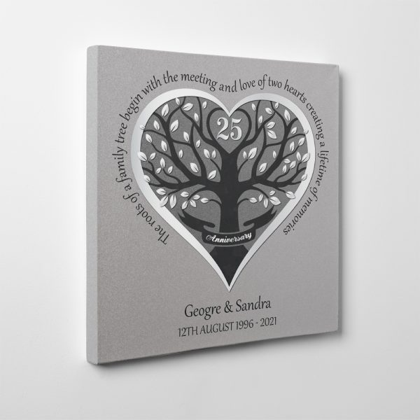 The Roots Of A Family Tree Begin With The Love Of Two Hearts 25th Anniversary Canvas Print