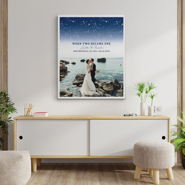 """""""When Two Became One"""" 3rd Anniversary Star Map Photo Canvas Print"""