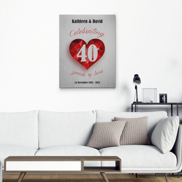 Celebrating 40 Years Of Love - 40th Anniversary Canvas Print