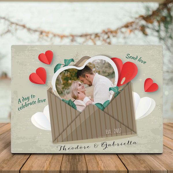 A Day To Celebrate Love (4 Years) Custom Photo Desktop Plaque