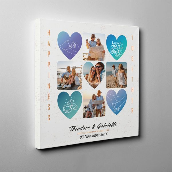 Happiness and Together Custom Photo Collage Canvas Print - 7 Year Anniversary