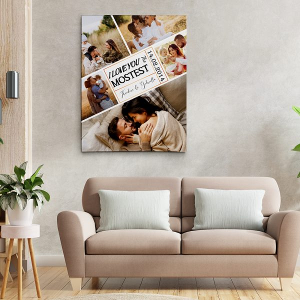 I Love You The Mostest 7th Anniversary Photo Collage Canvas Print