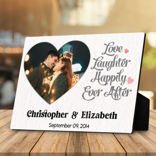 Love Laughter Happily Ever After 7th Anniversary Custom Photo Desktop Plaque