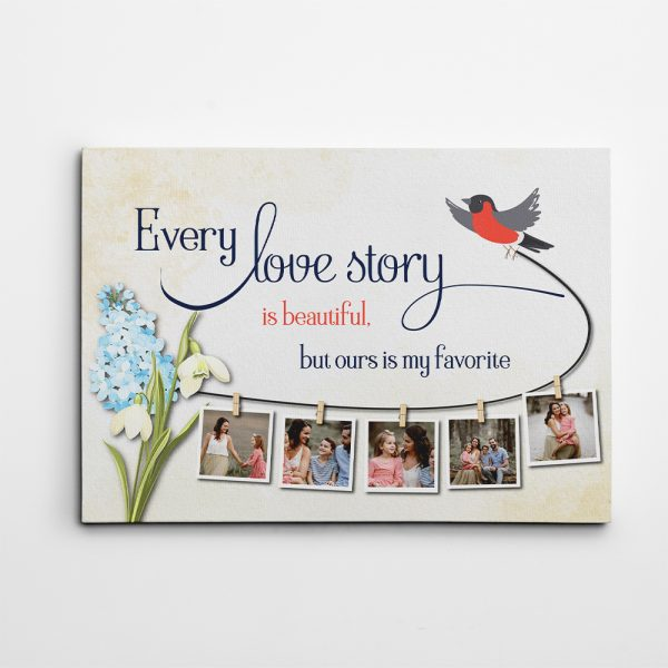 Our Love Story Is My Favorite 8th Anniversary Custom Photo Collage Canvas Print