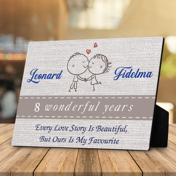 Every Love Story Is Beautiful But Ours Is My Favorite 8th Anniversary Desktop Plaque