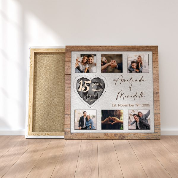 15 Years Down Forever To Go Anniversary Custom Canvas Print