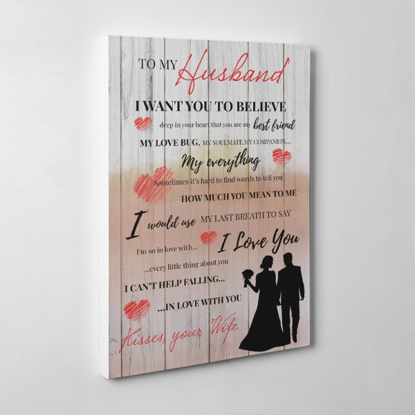 """""""You Are My Best Friend, My Love Bug"""" Wedding Couple Silhouette Canvas Print"""