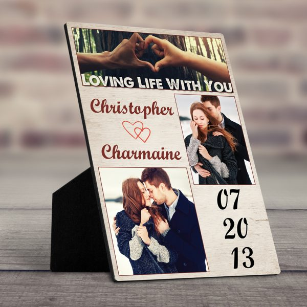 Loving Life With You 8th Anniversary Desktop Photo Plaque