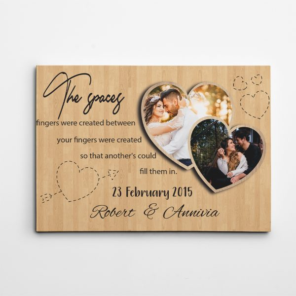 The Spaces Between Your Fingers Anniversary Custom Photo Canvas Print