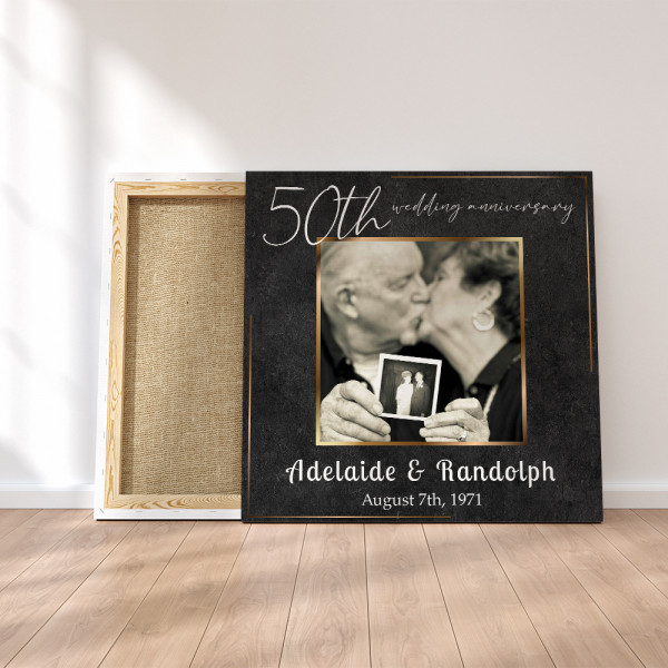 Then & Now 50th Anniversary Photo Canvas Print