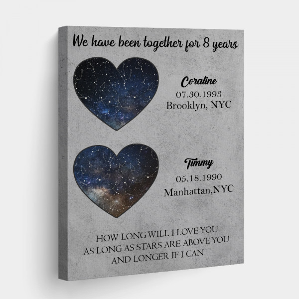 How Long Will I Love You As Long As The Stars Are Above You 8th Anniversary Star Map Canvas Print