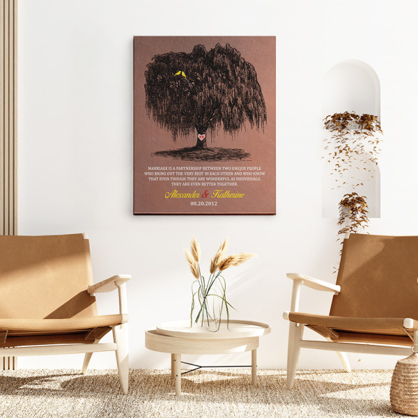 Marriage Is A Partnership Between Two Unique People 9th-Anniversary Canvas Print