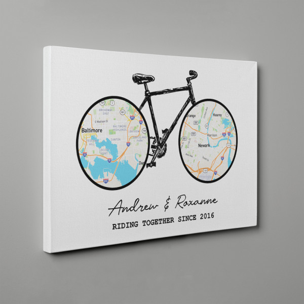 Riding Together Bicycle Map 2 Locations Canvas Print