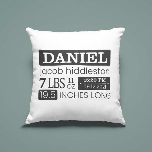Baby Birth Stats Personalized Throw Pillow