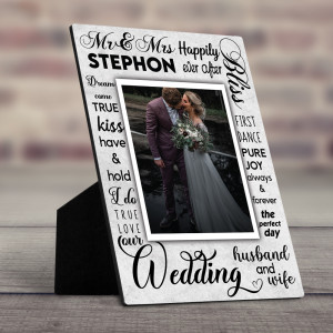 """""""Mr. And Mrs. Happily Ever After"""" Desktop Plaque"""
