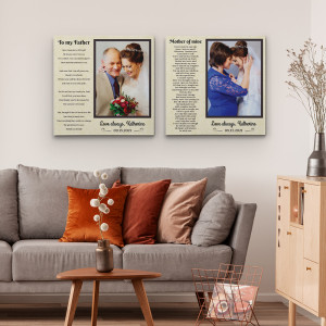 """""""To My Father, Mother of Mine"""" Poem Photo Canvas Print"""