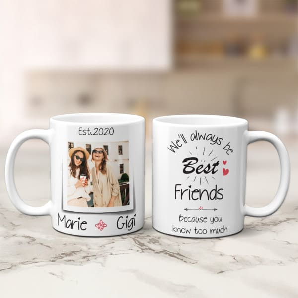 friends picture on personalized mug