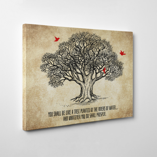 You Shall Be Like a Tree Planted by the Rivers of Water Canvas Print - Side view