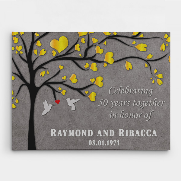 Celebrating 50 Years Together In Honor Custom Canvas Print
