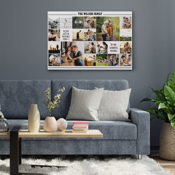 Blessed With An Incredible Family Photo Collage Canvas Print
