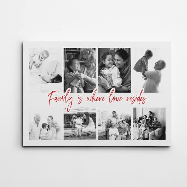 Family Is Where Love Resides Custom Photo Collage Canvas Print