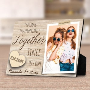 Laughing Inappropriately Since Day One Photo Desktop Plaque