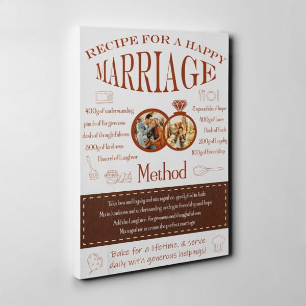 """""""Recipe For A Happy Marriage"""" 9th Anniversary Photo Canvas Print"""