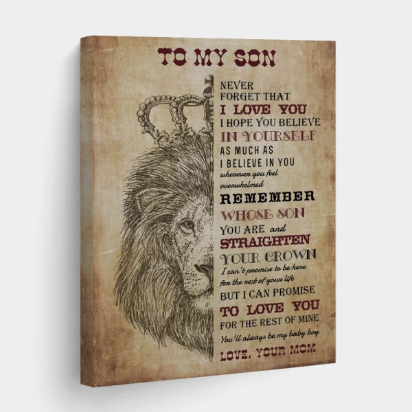 To My Son Never Forget That I Love You Canvas Print