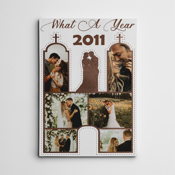 What A Year 9th-Anniversary Custom Photo Collage Canvas Print