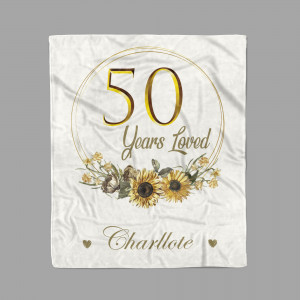 50 Years Loved Personalized Birthday Blanket