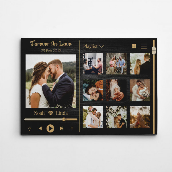 Forever In Love Music Frame Photo Collage Canvas Print