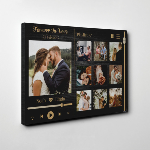 Forever In Love Music Frame Photo Collage Canvas Print - Side View