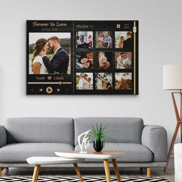 Forever In Love Music Frame Photo Collage Canvas Print Hanging in the room