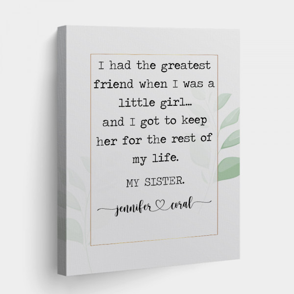 custom canvas print gifts for sister
