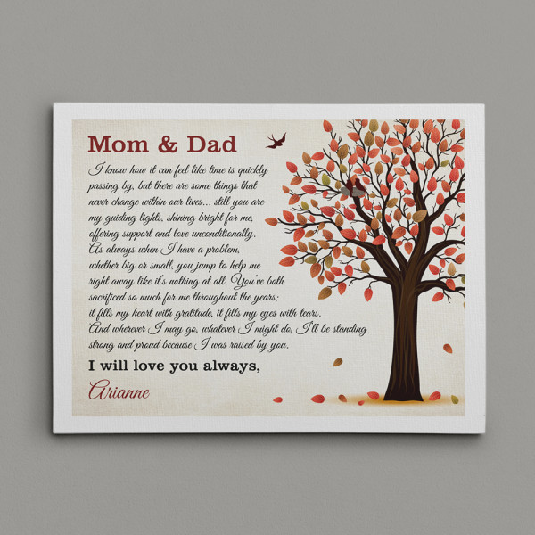 I Was Raised By You Custom Text Canvas Print