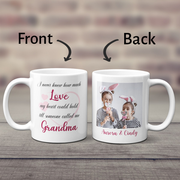 I Never Knew How Much Love My Heart Could Hold Till Someone Called Me Grandma Custom Photo Mug