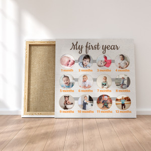 My First Year Custom Photo Collage Canvas Print