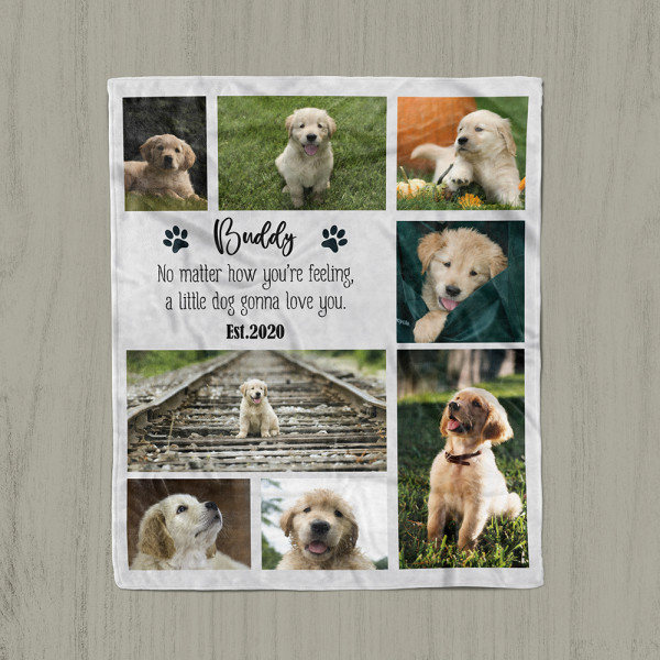 A photo blanket with a quote No matter how you're feeling a little dog gonna love you
