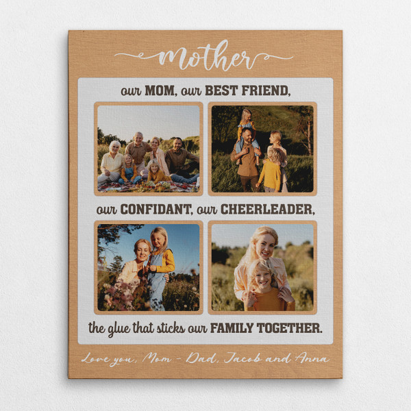 Our Mom Our Cheerleader The Glue That Sticks Our Family Together Custom Text And Photo Canvas Print