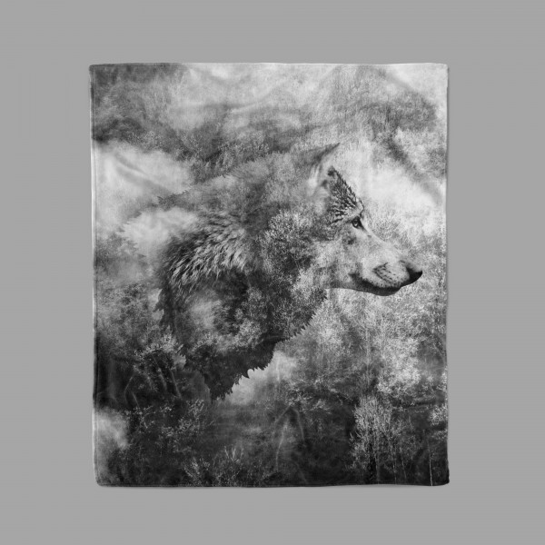 Black and White Wolf Blanket