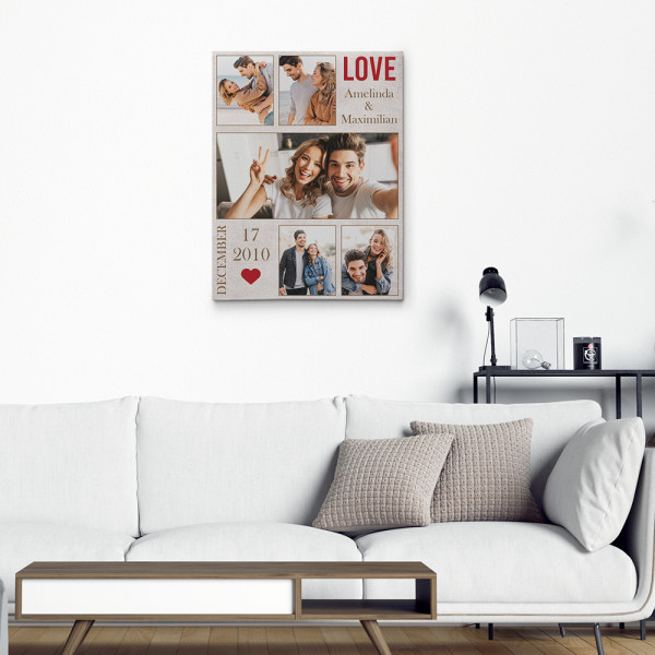 photo collage canvas print for couple